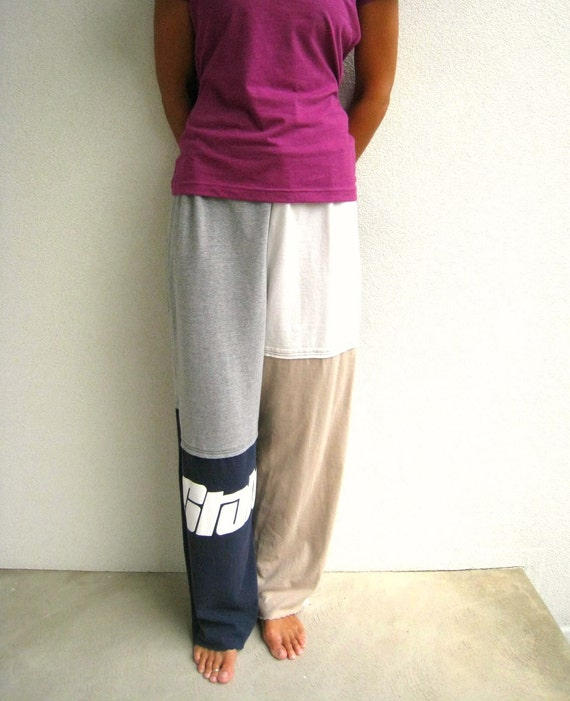 Penn State T Shirt Pants for Him or Her / S - M / Navy Blue Gray Cream Tan / Recycled / Drawstring / Unisex / Fall / Soft / by ohzie