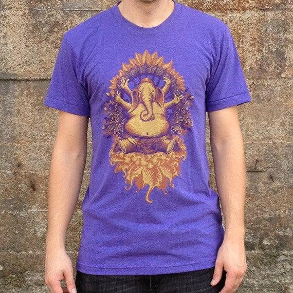 Ganesh Chaturthi T-shirt, Men's American Apparel Heather Purple Tri-Blend Tee