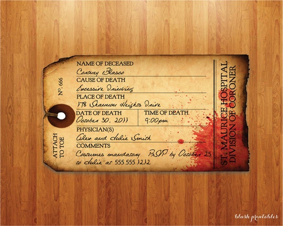 Antique Toe Tag - Morgue - Halloween Party Invitation - INSTANT DOWNLOAD