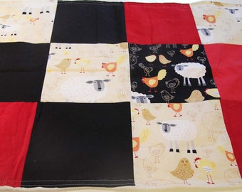Large Modern baby blanket patchwork  Farm animals LIMITED (only 1 left) black red ivory minkee minky swaddle blanket quilt