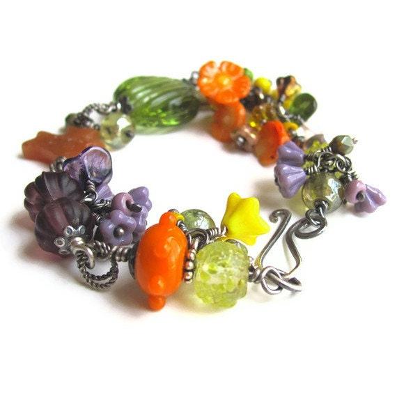 CALIFORNIA jewelry wild flower lampwork bracelet unique jewelry garden bracelet lampwork jewelry gardener gift