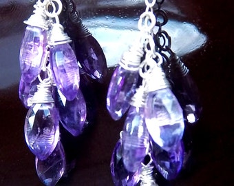 February Birthstone Rich Amethyst Cascade Earrings with Bright Sterling Silver