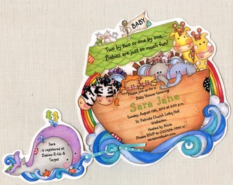 Personalized - Noah's Ark Invitations - Baby Shower Invitations - Announcements - - Noah's Ark Party - Handcut - Set of 100