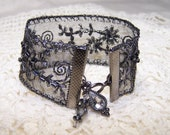 Gunmetal Beaded Ribbon Bracelet w/ Charms Formal Goth Steampunk Cuff  Black Victorian Vintage Look