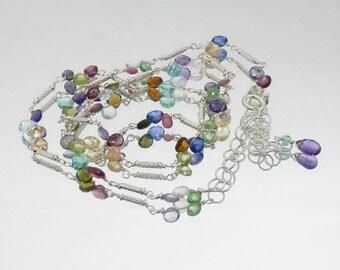 Multigem Briolette and Sterling Handmade Necklace Chain