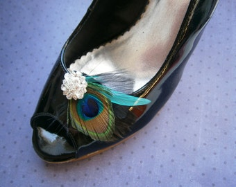 Shoe clips, Peacock shoe clips, Bridal, Feather accessories, Wedding shoe clips, black, teal, aqua, turqoise, green, emerald - PEACOCK BLACK