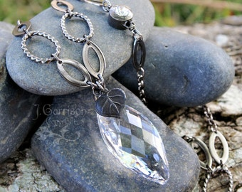Elven Star necklace - large faceted crystal, dark gunmetal chain - fantasy- medieval - renaissance-  free shipping in USA