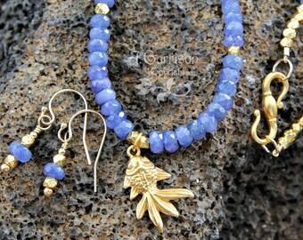 Zen Goldfish necklace & earring set - goldfish charm, blue sapphire faceted gemstones, gold beads - luxury- Koi- free shipping USA