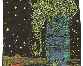 A Cosmic Elephant Woman Sighting ( limited edition print)