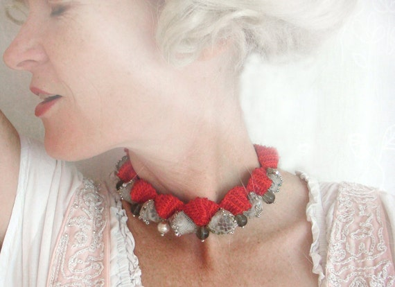 winter clearance ! ruby b. - a red and silver textile choker