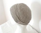 Linen Hat, Crochet Beanie - Natural Light Gray Grey, Slightly Slouchy - Minimal Unisex Spring, Summer Hat Beach Fashion Accessories