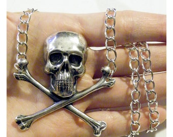 Silver Skull and Crossbones Necklace Large