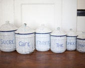 1900 - 1920 Antique French Enamelware Blue White Canister Set of 6