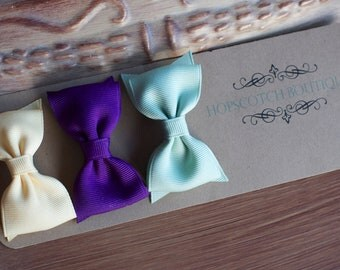 Patty clips trio Sage, Butter, Purple Bow tie Hair Clip