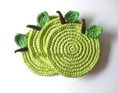 Green Light Apple Crochet Coasters . Beverage Drink Juice Pastel Leaves Vegan Celery Decor Crochet Fruit Collection - Set of 4 Made to order