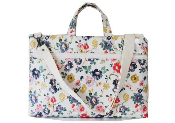 "SALE- 15"" Macbook or Laptop bag with handles and detachable shoulder strap- Floral"