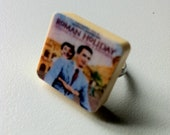 classic old movie poster - roman holiday scrabble ring