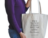 she is too fond of books canvas tote bag