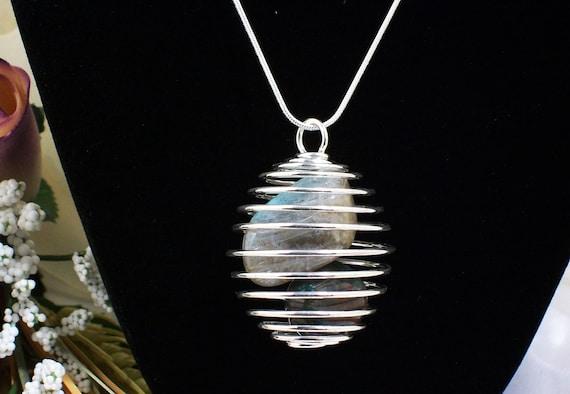 Custom Order for Angela Labradorite & Bloodstone Sterling Silver Caged Necklace