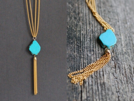 SALE 10% OFF Blue-golden chain necklace with Turquoise Nugget Freeform Bead