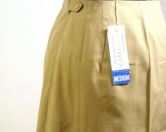 Vintage A Line Secretary Skirt 1950s Deadstock Gold High Waist Tailored Skirt Holiday Fashion Office