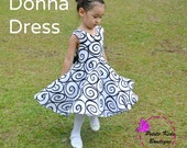 Donna Dress 12M-8Y PDF Pattern & Instruction by Petite Kids - crisscross front, low back, circle skirt, big bow