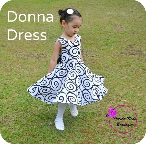Donna Dress 12M-8Y PDF Pattern & Instruction by Petite Kids - crisscross front, low back, circle skirt, big bow