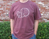 Mens Tshirt L Maroon Brown Hand Dyed White Squirrel Screenprint Port & Co 100% Cotton Tee