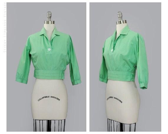 1950's pastel green blouse. 50's cotton top. vintage. crop top. short. m. mint blouse 50.