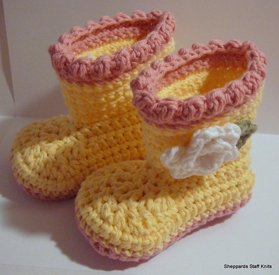 Baby Flower Boots - Yellow, Pink and White - 3-6 months