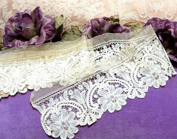 Antique Lace Vintage Lace Hand Made Lace 1860s Victorian Dress Brussels Lace Trim