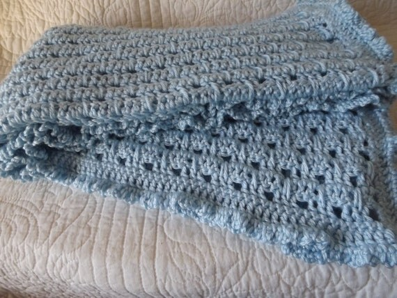 Super Soft Crocheted Baby Blanket in a Shade of Sky Blue