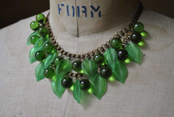 RESERVED for Michela    Vintage LUCITe LeAFY GReeNS Necklace: Lucite Leaves & Berries, Bib-style Two Tier