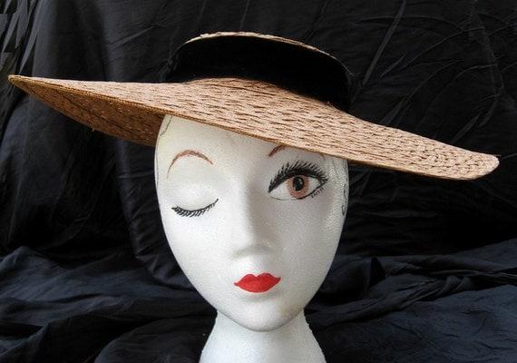 Old Straw Hat Tilt Hat Vintage 40s Hat Consumer's Protection Label Classic Tilt Hat Starlet Style
