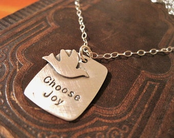 Choose Joy sterling silver stamped necklace with bird
