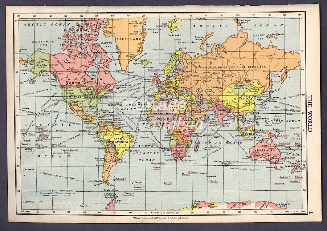 WORLD map 1950s vintage map world atlas map geographical