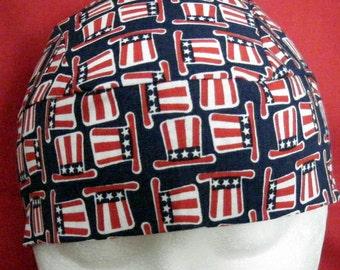 Dark Blue Skull Cap with Uncle Sam Hats, Chemo Cap, Head Wrap, Biker, Do Rag, Handmade, Helmet Liner, Motorcycle, Surgical Cap, Alopecia