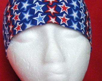 Blue Skull Cap or Chemo Cap w Red, White & Blue Stars, Biker, Do Rag, Hats, Head Wrap, 4th of July, Motorcycle, Helmet Liner, Handmade, Caps