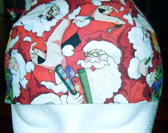 Handmade Red Skull Cap, Chemo Cap with Santa and Presents, Do Rag, Biker, Hat, Head Wrap, Christmas, Hair Loss, Motorcycle, Helmet liner