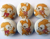 6  kawaii fawns bambi deers handmade fabric covered buttons 7/8 inches
