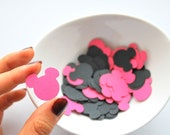 100 Mickey confetti (1 inch) die cut cardstock confetti in Hot pink and black A254