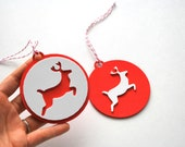 2 Foam Christmas Ornaments, Red and white reindeeer Christmas tags Original design Die cut Ornaments
