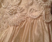 RESERVED FOR C. Lamb * Fairy Tale Wedding Dress - Champagne Silk Ball Gown with Cathedral Train