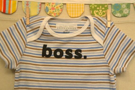 boss --- blue striped bodysuit, size 18 months