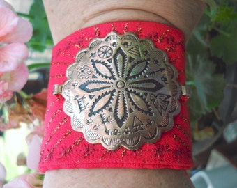 Mexican Copper Belt Link Soft Quilted Fabric Cuff Bracelet One of A Kind