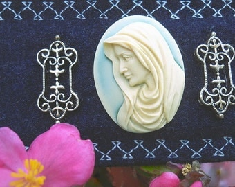 Prayer to Our Sorrowful Mother Cameo Soft Brushed Denim Fabric Cuff Bracelet OOAK
