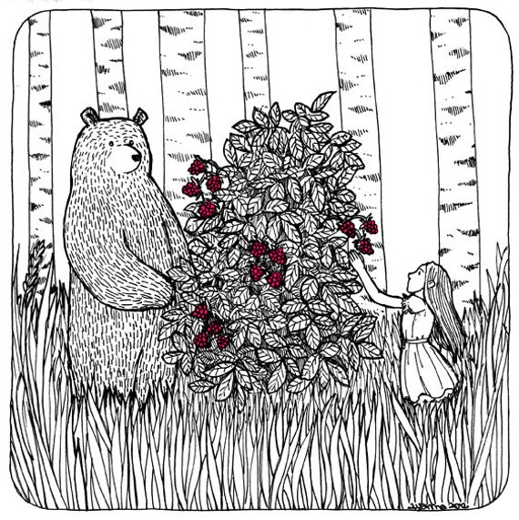 Berry Picking - Raspberries and a Bear print of an Original Illustration