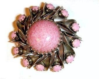 Pink Glass Brooch Vintage Pin signed Austria
