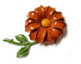 "Vintage Enamel Daisy Flower Brooch Vintage Long 3"" Stem Flower Pin"