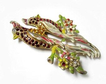 Vintage Duette Birds Red Rhinestone Enamel Bird Brooch Vintage Rhinestone Pot Metal Antique Jewelry